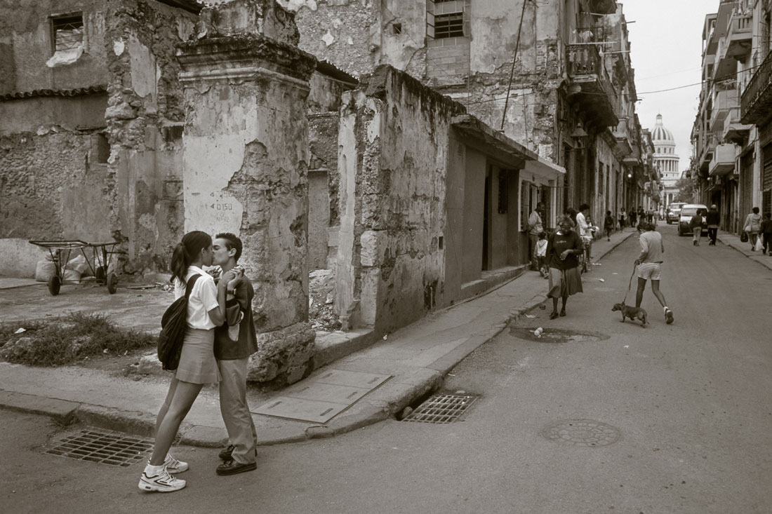 Young Couple Kissing in the streets of Havana