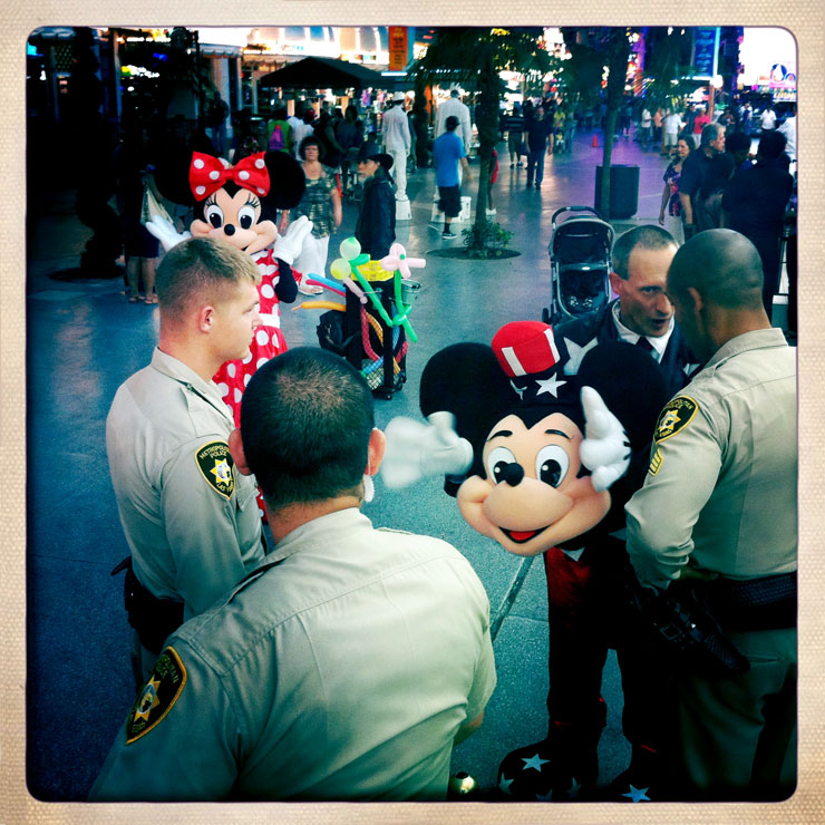 Mickey with police in Las Vegas