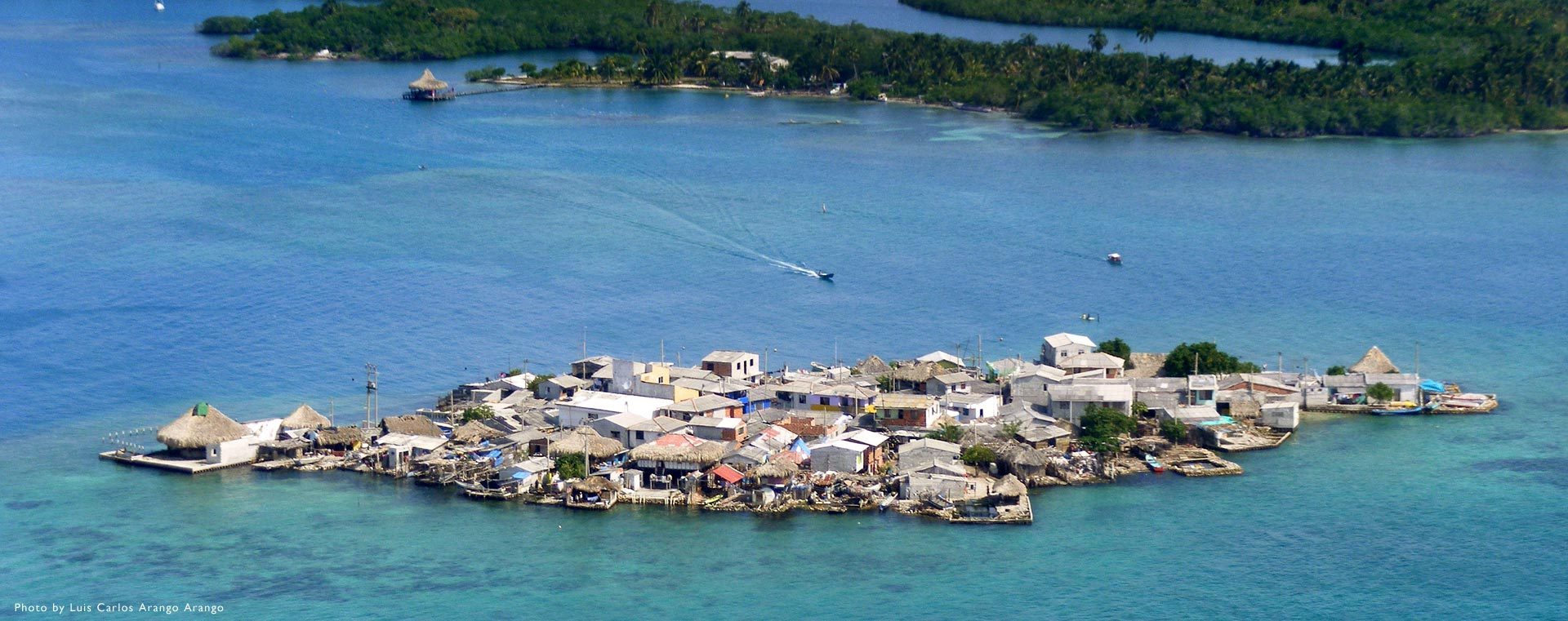 Aerial of the island of Santa Cruz del Islote